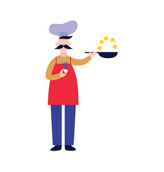 male chef stands and holds pan while frying vector image