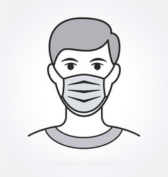 man with facemask grayscale covid19 vector image
