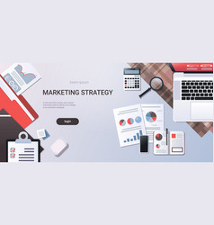 marketing strategy concept workplace desk top vector image
