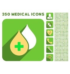 Medical Drops Icon and Medical Longshadow Icon Set vector image