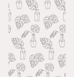 monstera outline plants in pots seamless design vector image