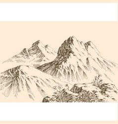 Mountains ranges hand drawing alpine landscape vector
