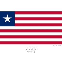 National flag of liberia with correct proportions vector