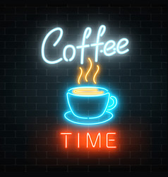Neon coffee time glowing sign on a brick vector