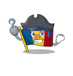 One hand pirate flag andorra scroll cartoon style vector