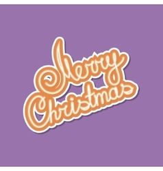 Orange Text Merry Christmas on Purple Background vector image