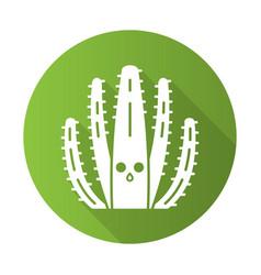Organ pipe cactus flat design long shadow glyph vector