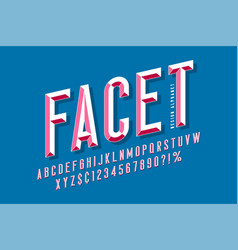 Original display font with facets alphabet vector