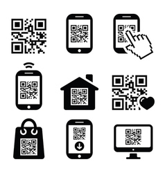 Qr code on mobile or cell phone icons set vector