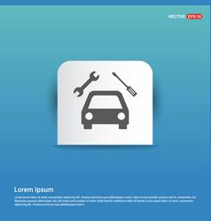 repair car icon - blue sticker button vector image