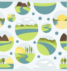 River and landscape icons pattern vector