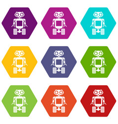 Robot on wheels icon set color hexahedron vector