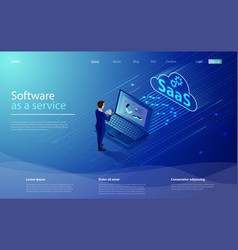 Saas software as a service cloud software on vector
