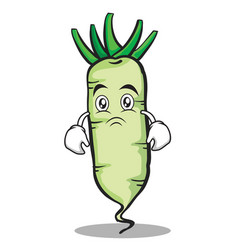 Sad white radish cartoon character vector