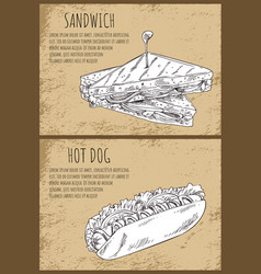 Sandwich and hot dog isolated on brown backdrop vector