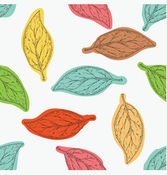 Seamless pattern with color beech leaves vector