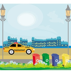 Segregation of garbage in the city vector