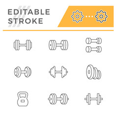 set line icons dumbbells vector image