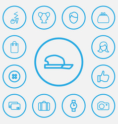 set of 13 editable trade outline icons includes vector image