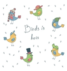 Set of 6 fanny birds in different hats vector