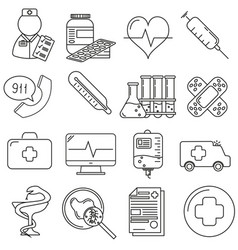 set of icons in line style medical vector image