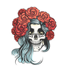 Skull in rose wreath vector