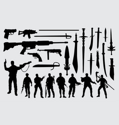Soldier gun and sword silhouette vector