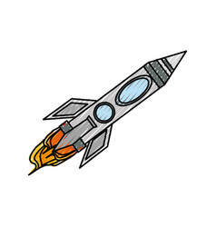 Spaceship rocket isolated vector