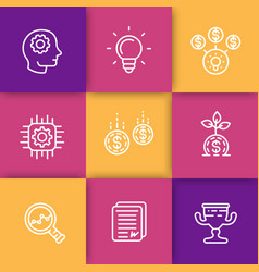 startup line icons creative process idea vector image