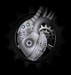 Steam punk mechanical heart vector image