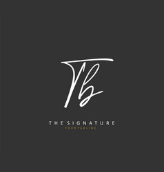 T b tb initial letter handwriting and signature vector