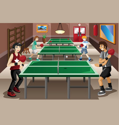 Teenagers playing ping pong vector