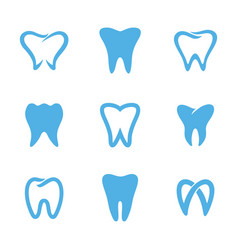Teeth logo white vector