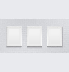 three realistic white picture or photo frame vector image