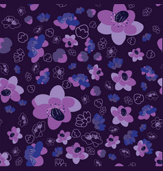 Trendy flower sakura background seamless pattern vector