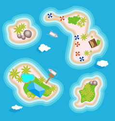 Tropical islands set top view above in the ocean vector