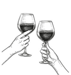 two hands clinking glasses of wine vector image