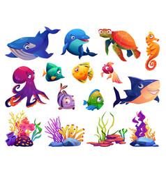Underwater sea ocean animals and seaweeds algae vector