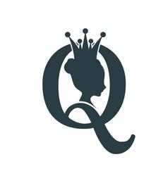 Vintage queen silhouette medieval queen profile vector