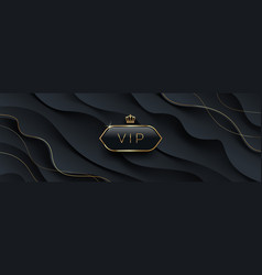 vip black glass label with golden crown vector image