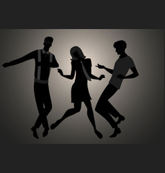we are mods silhouettes two guys and girl vector image