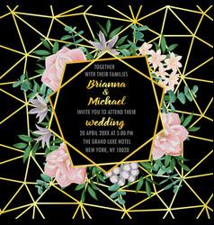 wedding invitation with geometric frame flowers vector image