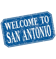 Welcome to San Antonio blue square grunge stamp vector