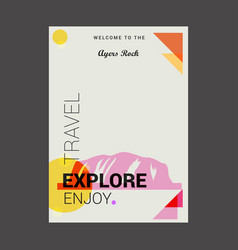 welcome to the ayers rock australia explore vector image
