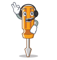 With headphone screwdriver character cartoon style vector