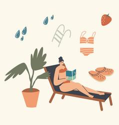 Woman in bikini sitting on deck chair at pool vector