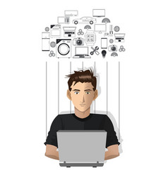 young man laptop working internet of things vector image