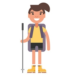 Young woman in yellow shirt and boots with vector image