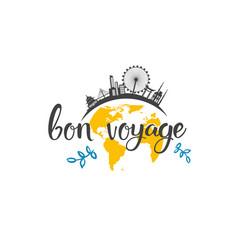 bon voyage travel icon hand drawn lettering vector image