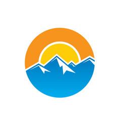 circle mountain hiking logo vector image